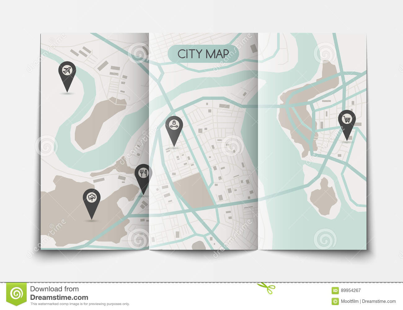 Open paper city map stock vector. Illustration of paper - 89954267
