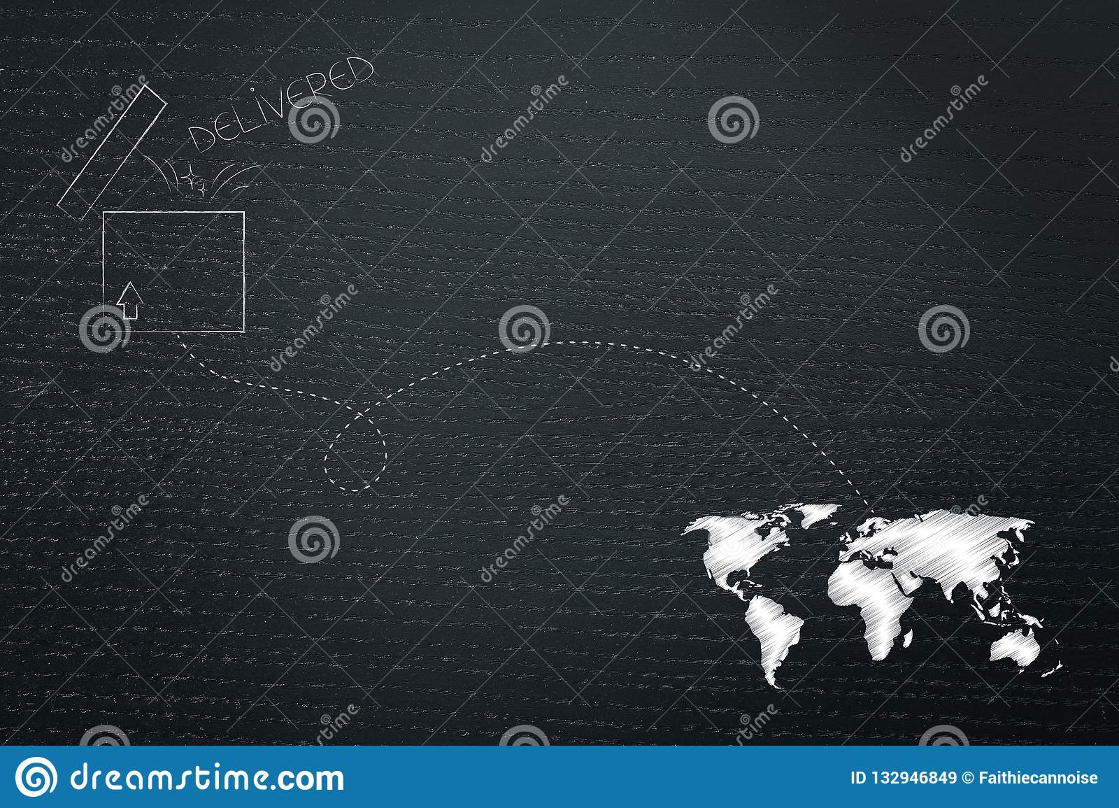 Open Parcel With Dashed Line Route To Destination On World