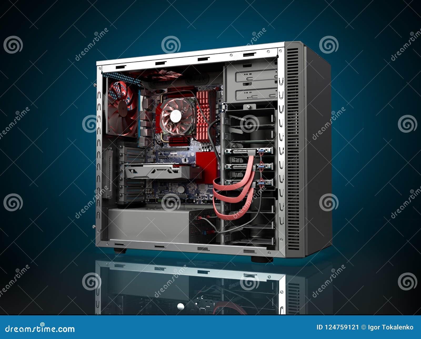 Open pc computer case stock photo. Image of chip, desktop 35334488.