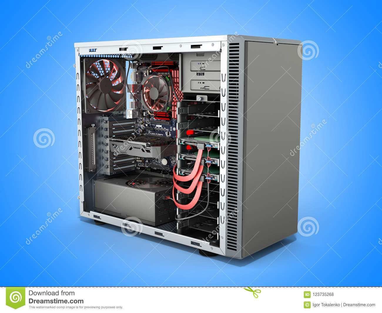 Open Pc Case With Internal Parts Motherboard Cooler Video Card P Wiring Download Stock Illustration