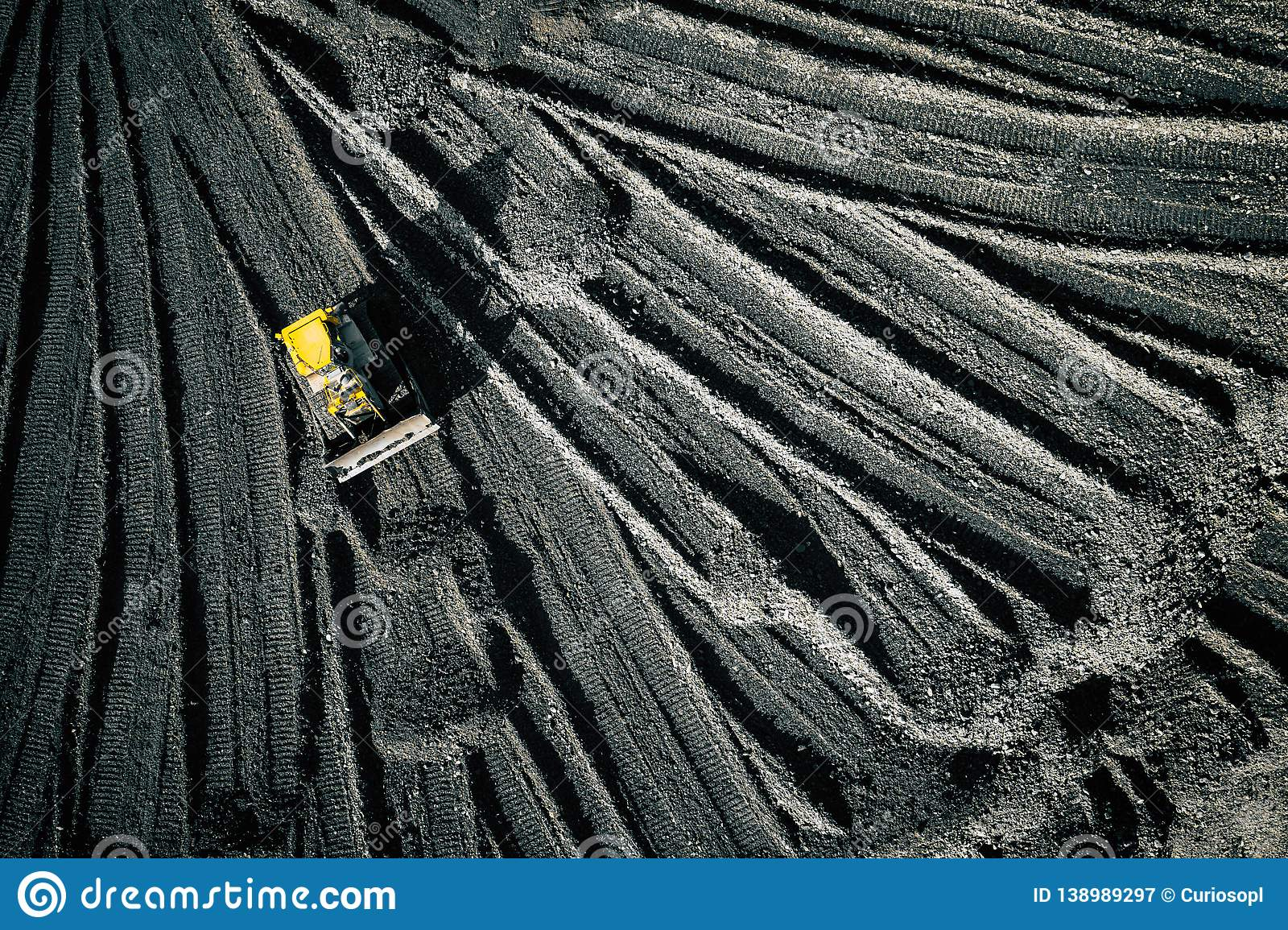 Open pit mine. Aerial view of extractive industry for coal. Top view. Photo captured with drone
