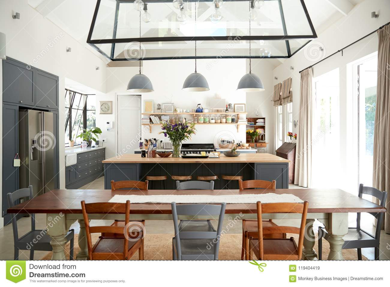 Open Plan Kitchen Diner In A Period Conversion Family Home Stock Image Image Of Domestic Room 119404419
