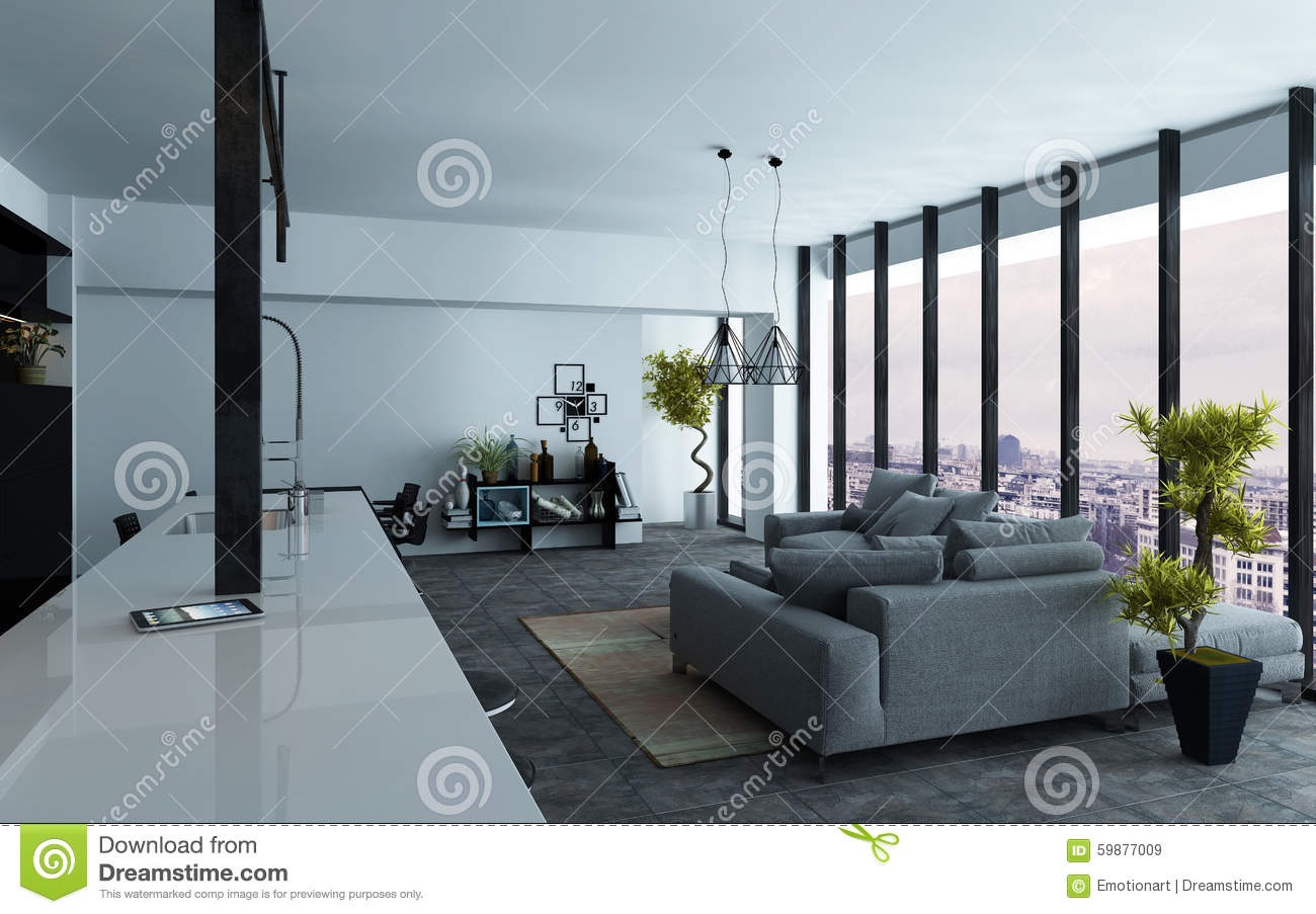 Open-plan Living Room Interior With View Windows Stock Illustration ...