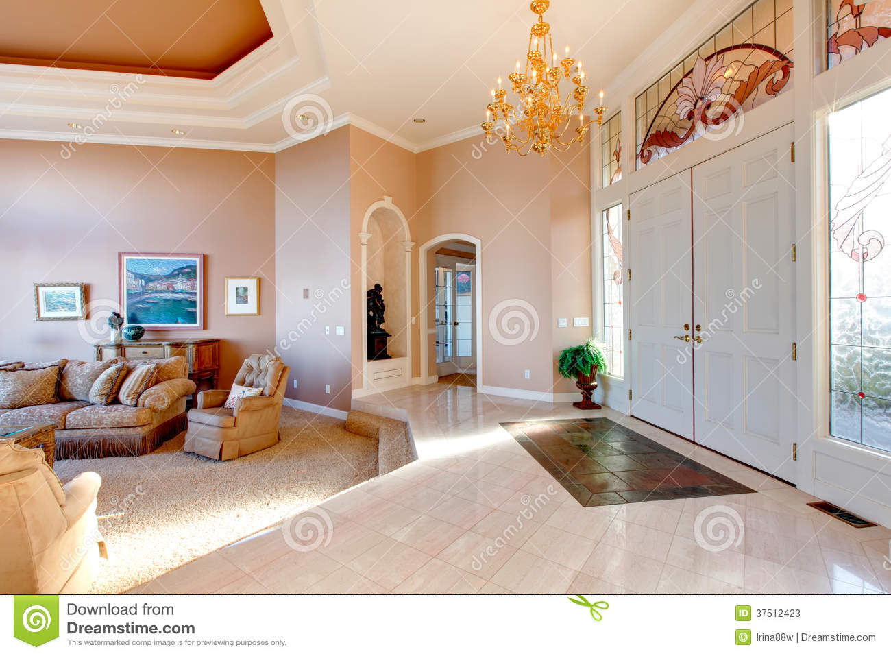 Open Plan Of Luxury Bright Hallway Stock Image - Image of building ...