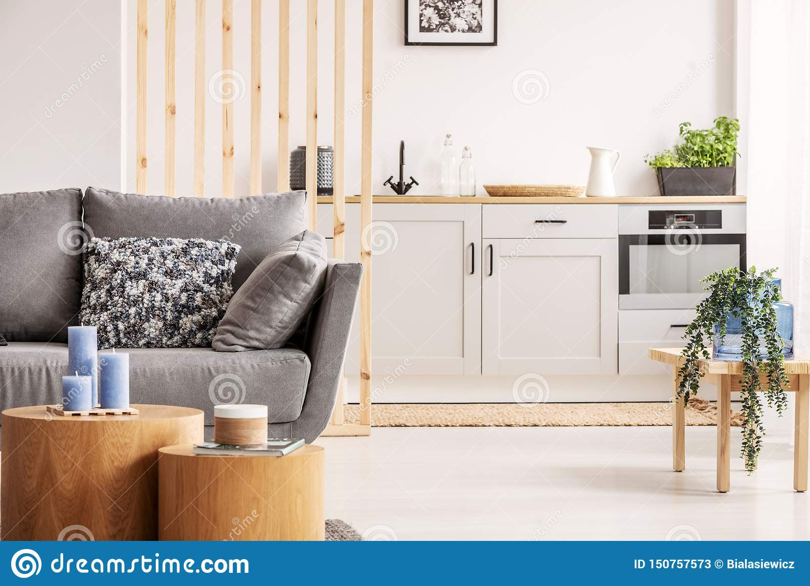 Open Plan Studio Apartment With Small White Kitchen And Living Room With Grey Couch And Wooden Coffee Table Stock Image Image Of Modern Design 150757573