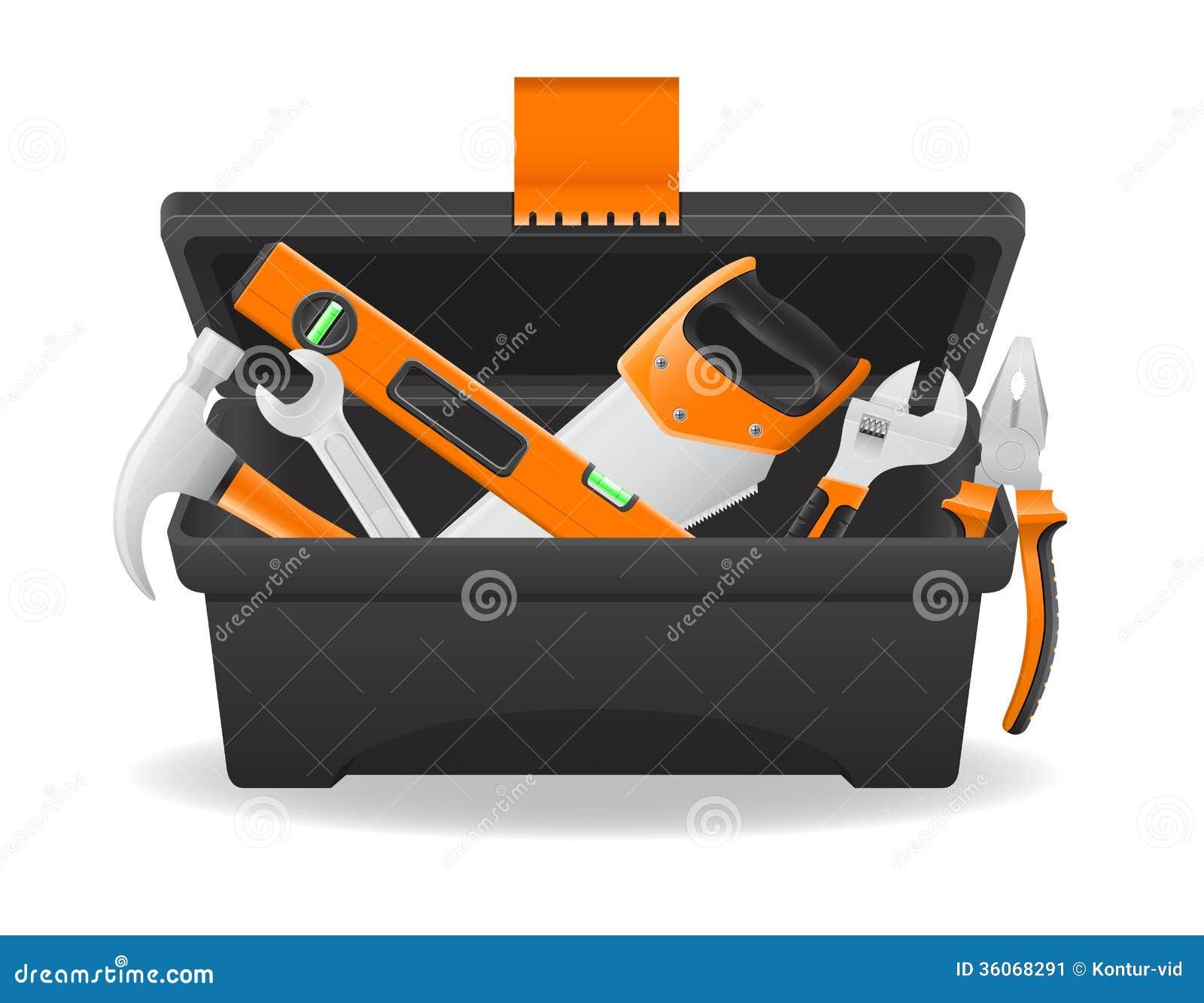 Open Plastic Tool Box Vector Illustration Stock Vector