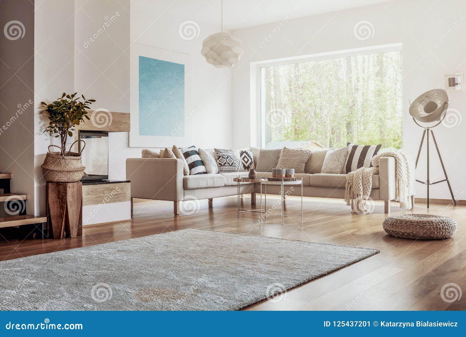 Open plek, wit woonkamerbinnenland met een grote deken op dark, hardhoutvloer en een beige hoekbank met kussens