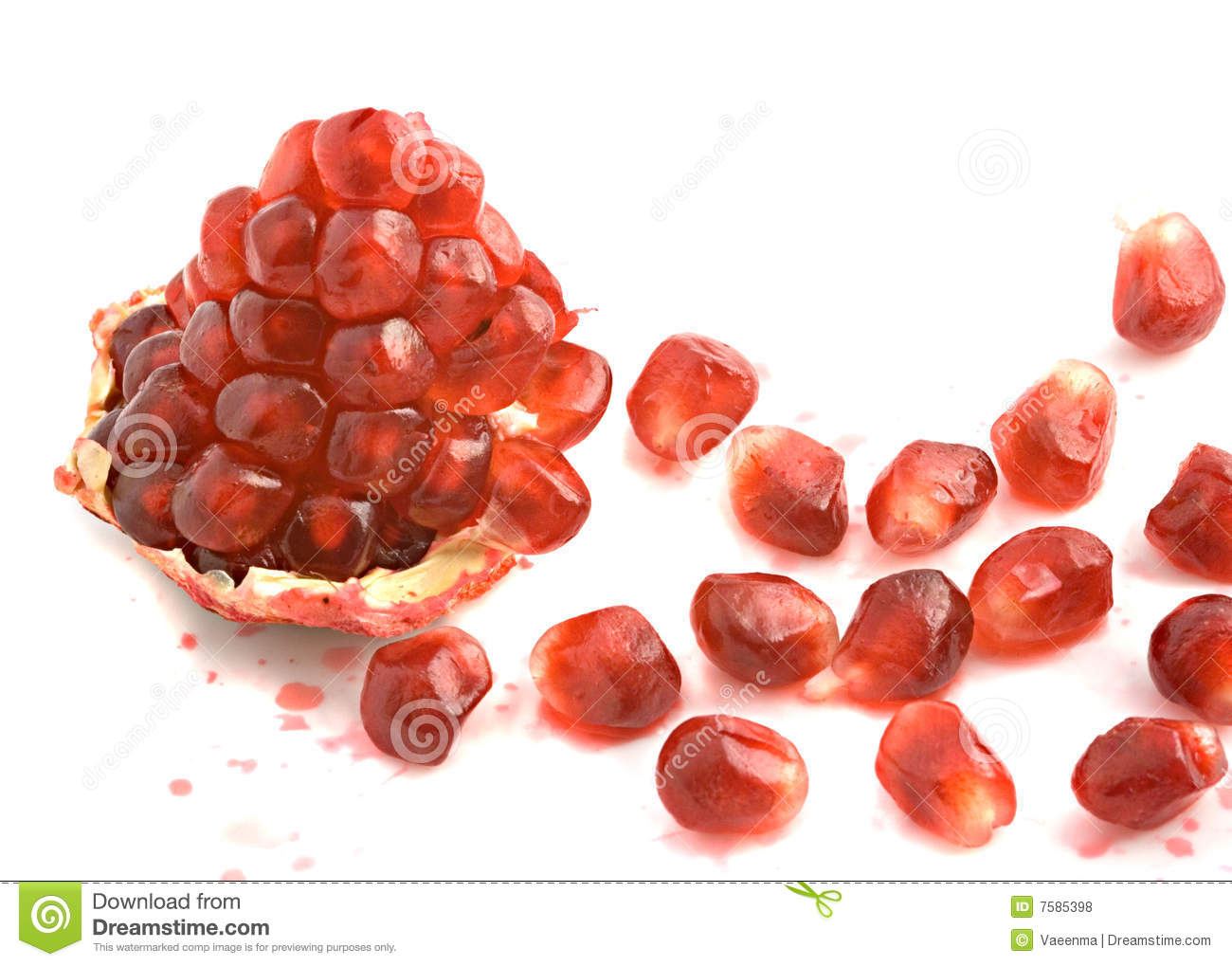 Open pomegranate and arils