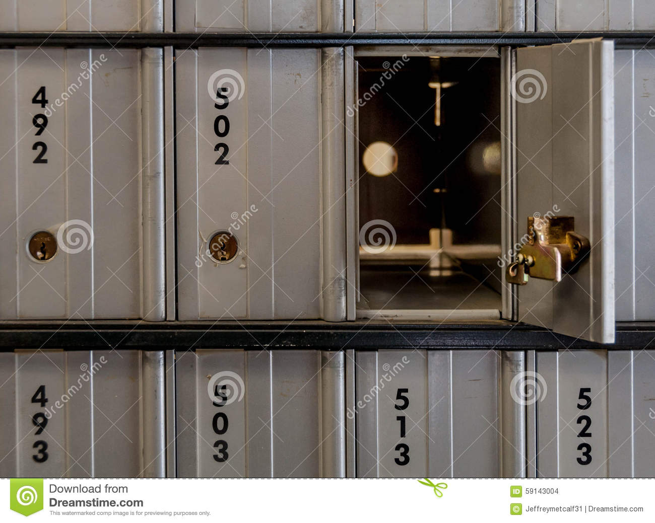 Open Post Office Lock Box Stock Photo Image Of Postage 59143004