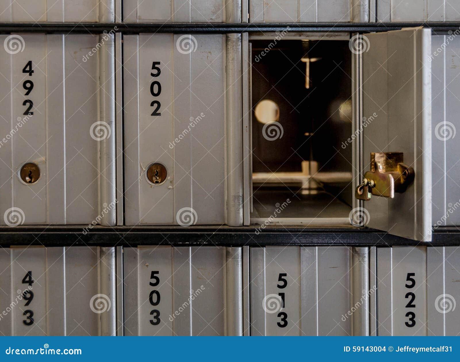 Open post office lock box stock photo image of postage for Door unlock service
