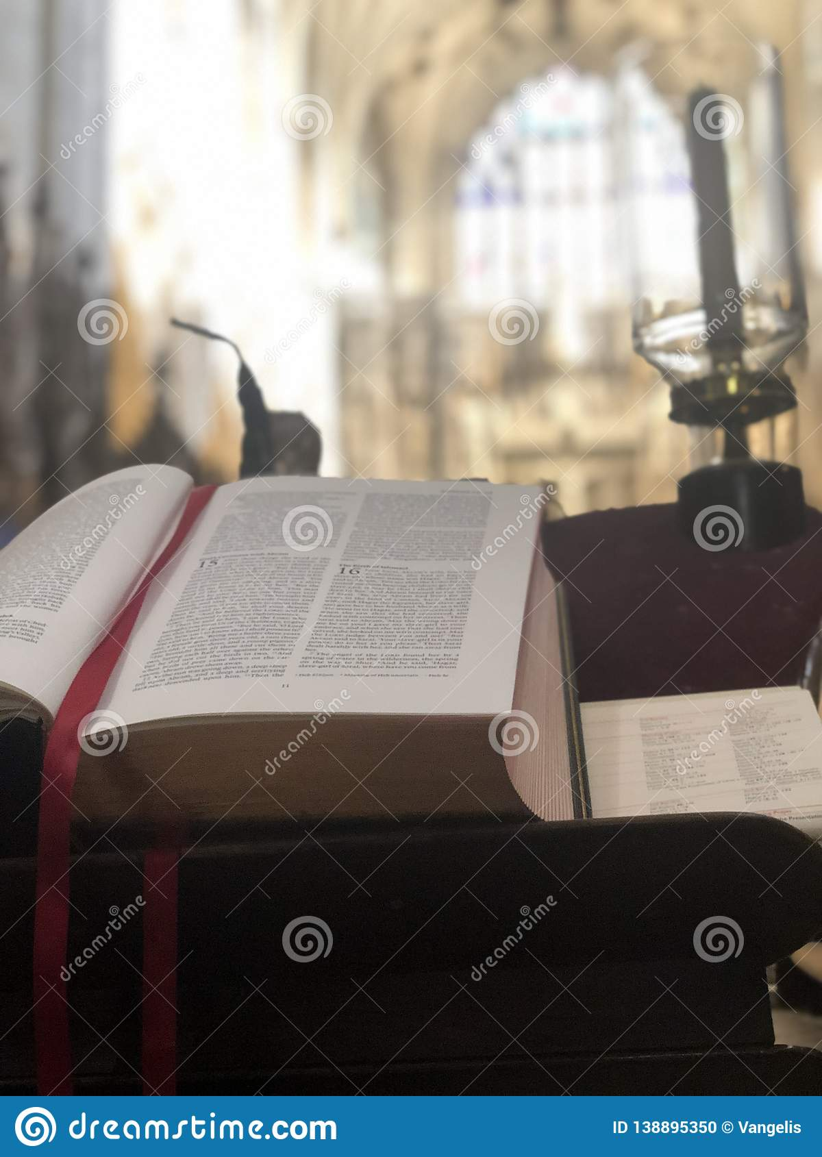 Open prayer book in Winchester Cathedral