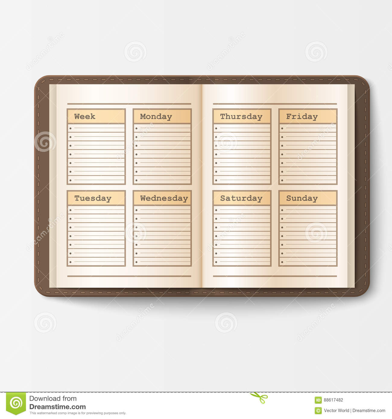 open realistic notebook with pages diary office sheet template