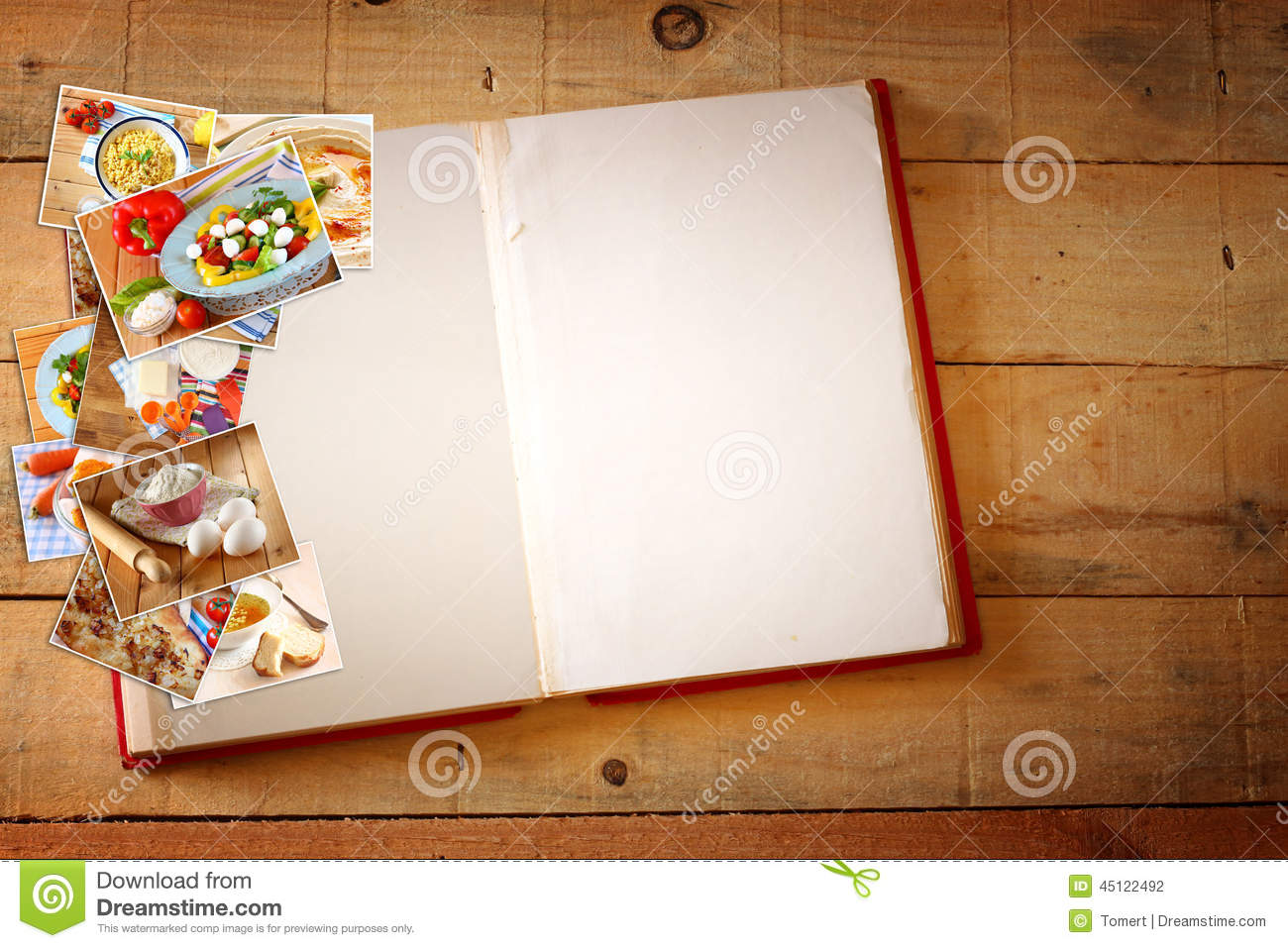 open recipe book with blank pages and collage of photos