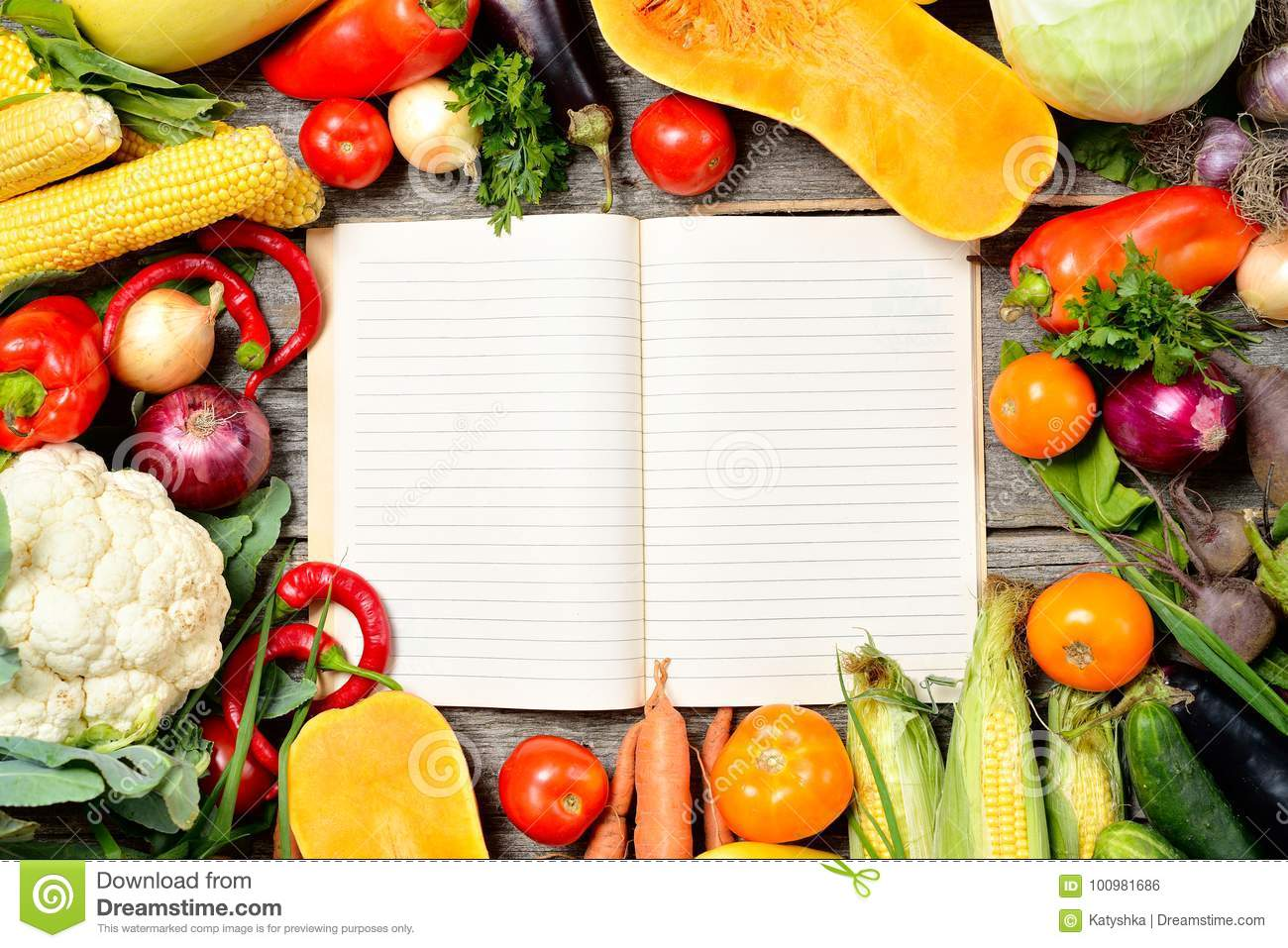 Open recipe book with set of raw organic vegetables on vintage download open recipe book with set of raw organic vegetables on vintage wooden table stock photo forumfinder Image collections