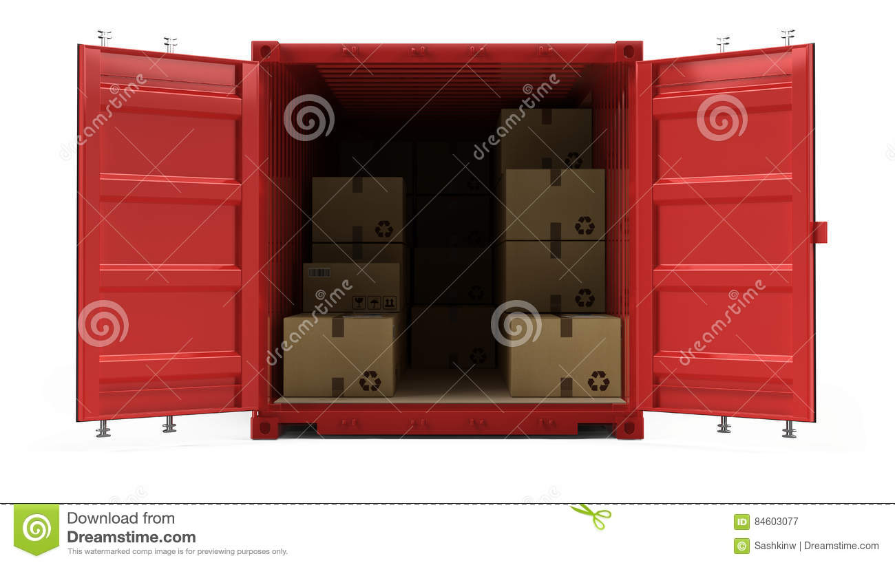 Open Red Cargo Freight Shipping Container With Cardboard