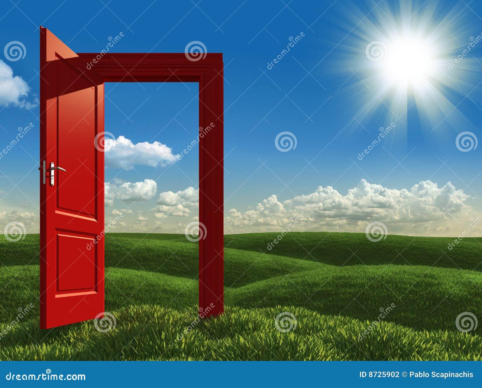 Open red door to the meadows