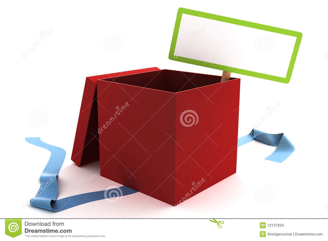 Open Red Gift Box With A Blank Sign Stock Images - Image ...