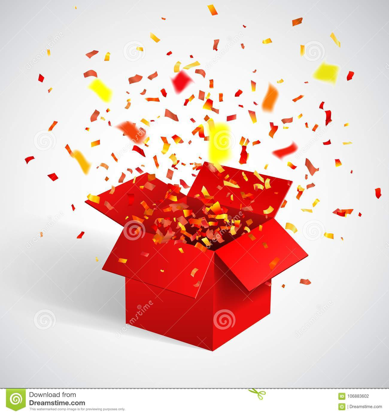 Open Red Gift Box and Confetti. Christmas Background. Vector Illustration.  sc 1 st  Dreamstime.com & Open Red Gift Box And Confetti. Christmas Background. Vector ...