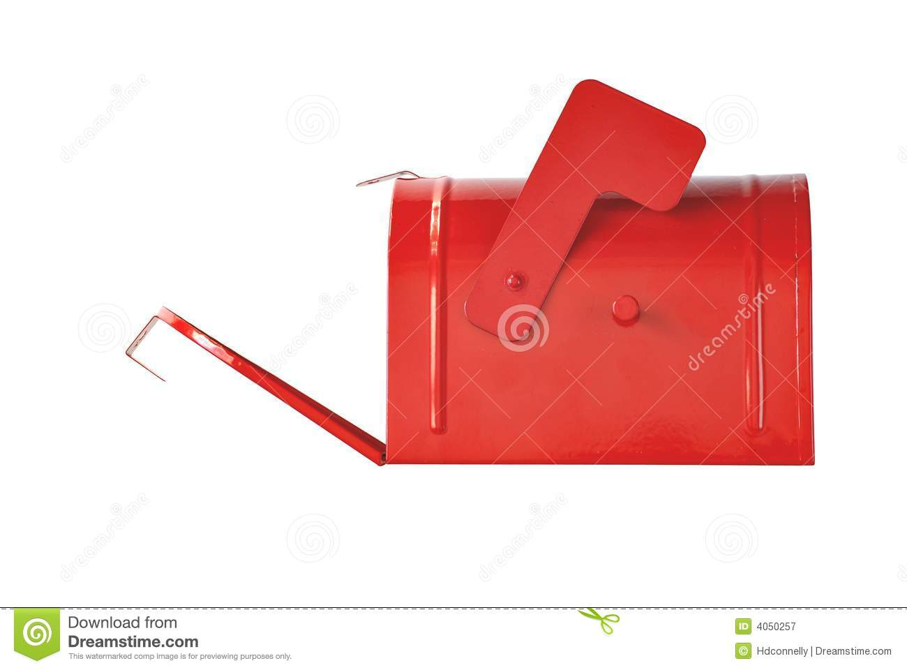 Side view of open red mailbox isolated on white background with copy ...