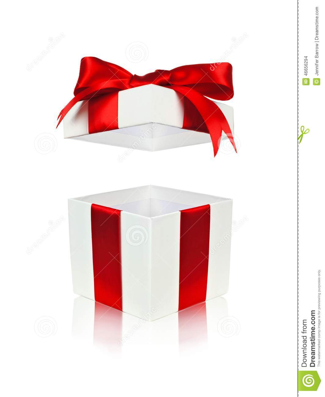 Open Red And White Gift Box With Floating Lid Stock Photo ...