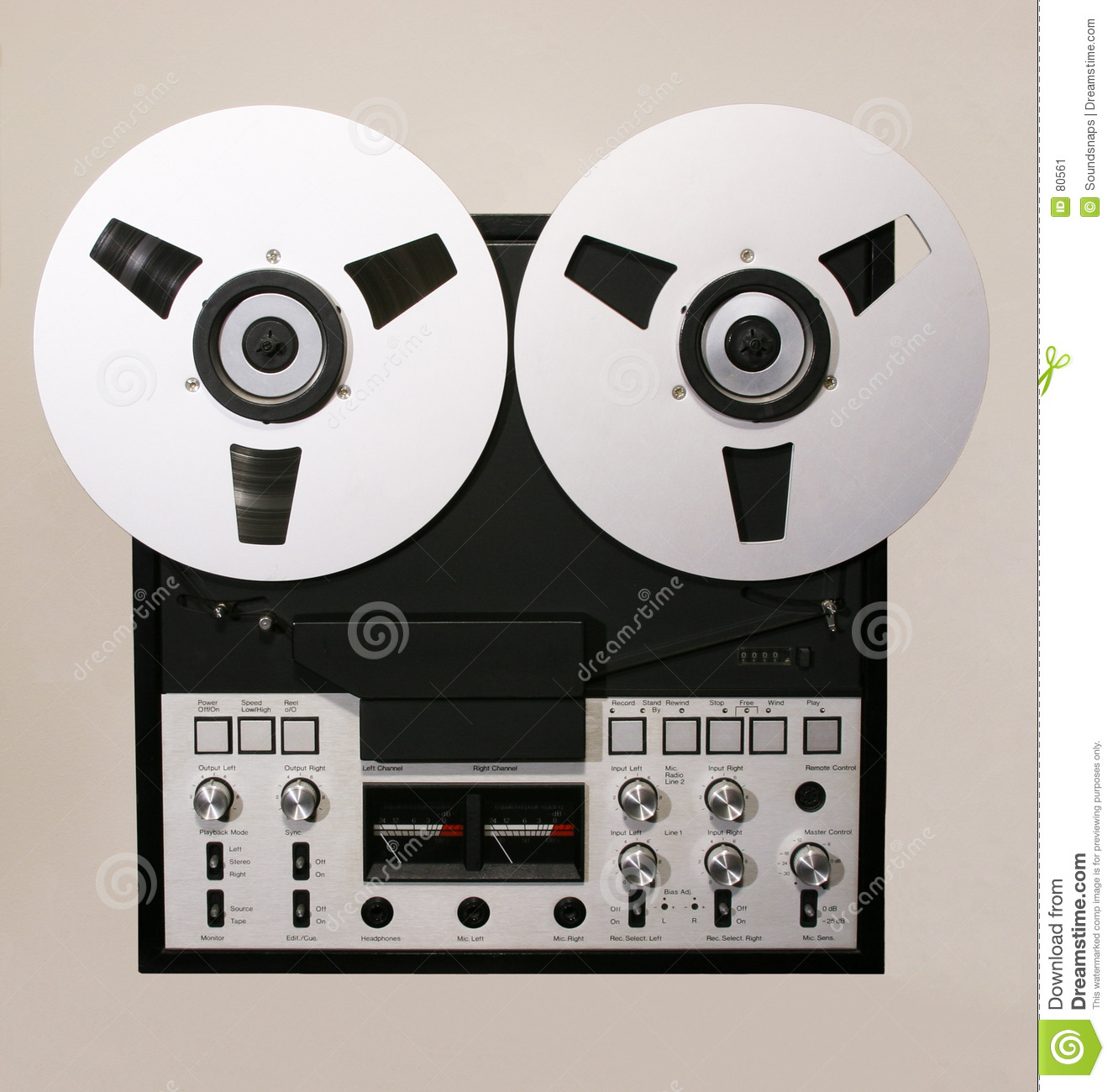 70s and 80s design Open Reel Tape Recorder isolated against colour ...