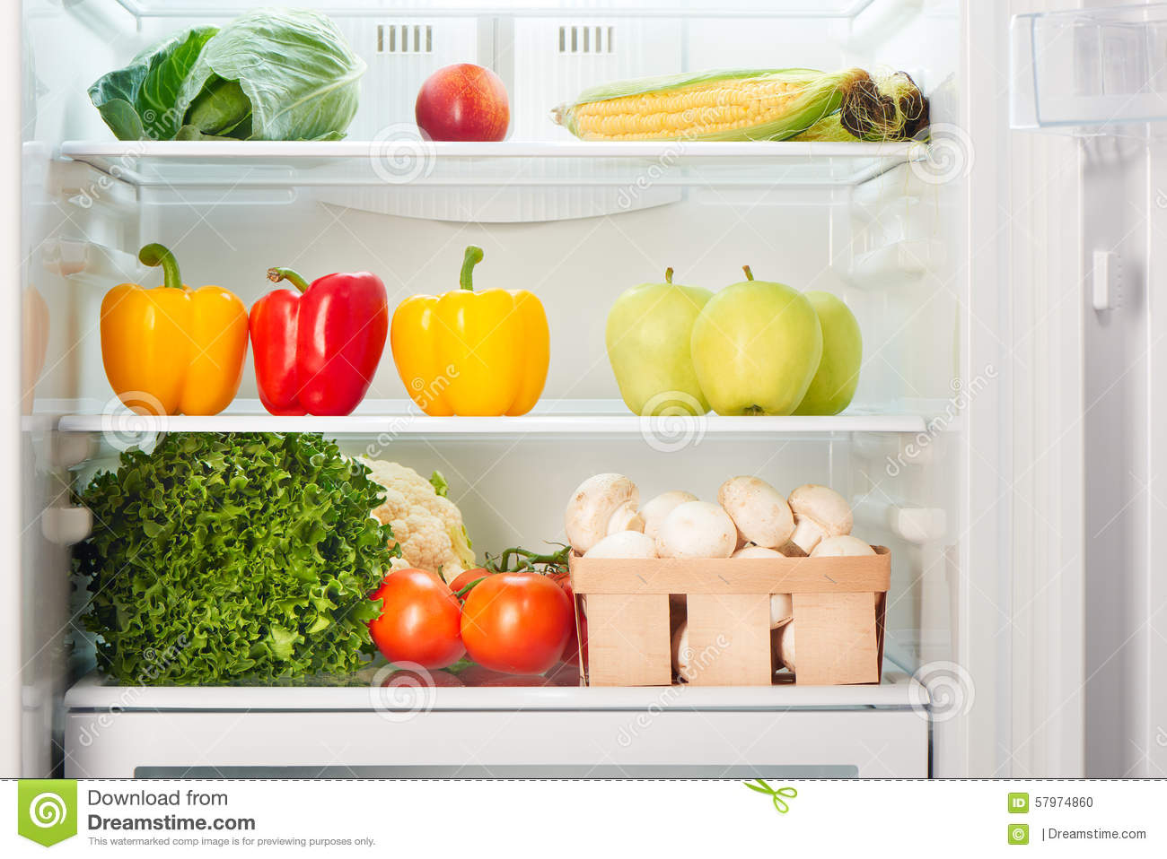 Open Refrigerator Full Of Fruits And Vegetables Stock