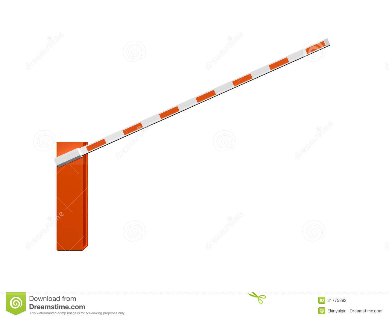 Opened striped road barrier for entrance, isolated on white background ...