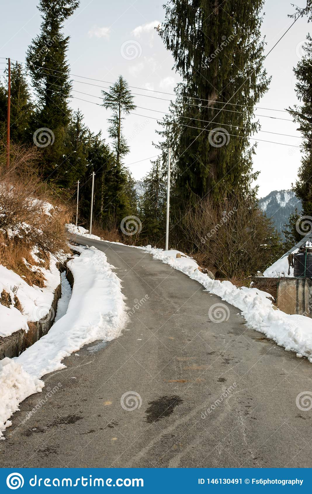 Open Road In Winter Season In Himalayas - India Stock Image