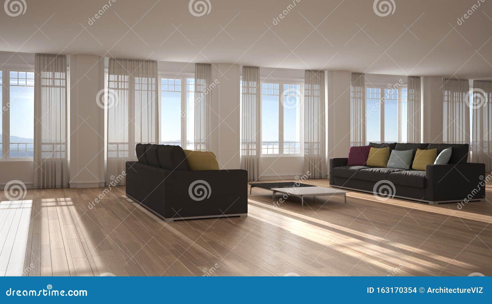 Open Ruimte Met Een Zacht Interieur Ontwerp Moderne Woonkamer Lounge Met Grote Panoramische Ramen Met Gordijnen En Zeeuitzicht Stock Foto Afbeelding Bestaande Uit Divan Gordijn 163170354