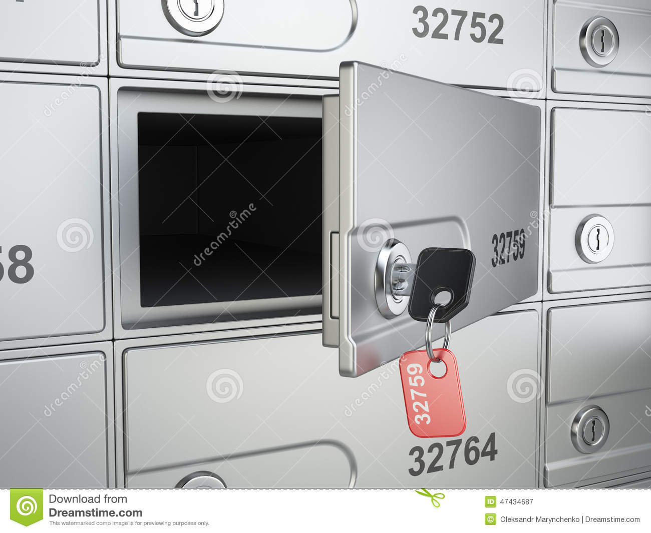 Open safe bank cell and key to the safe