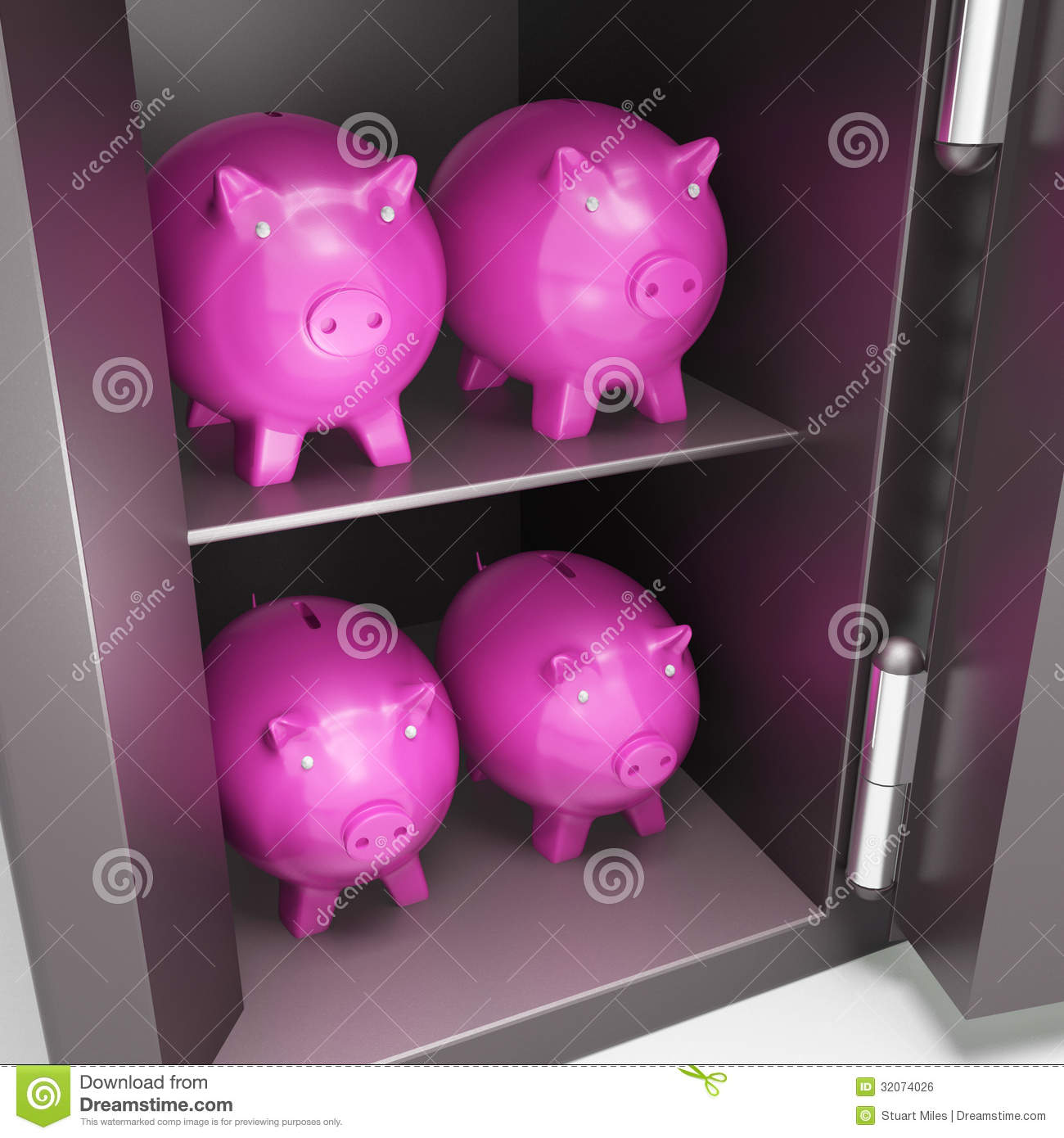 Open safe with piggy showing safe savings royalty free for How to open a tin piggy bank