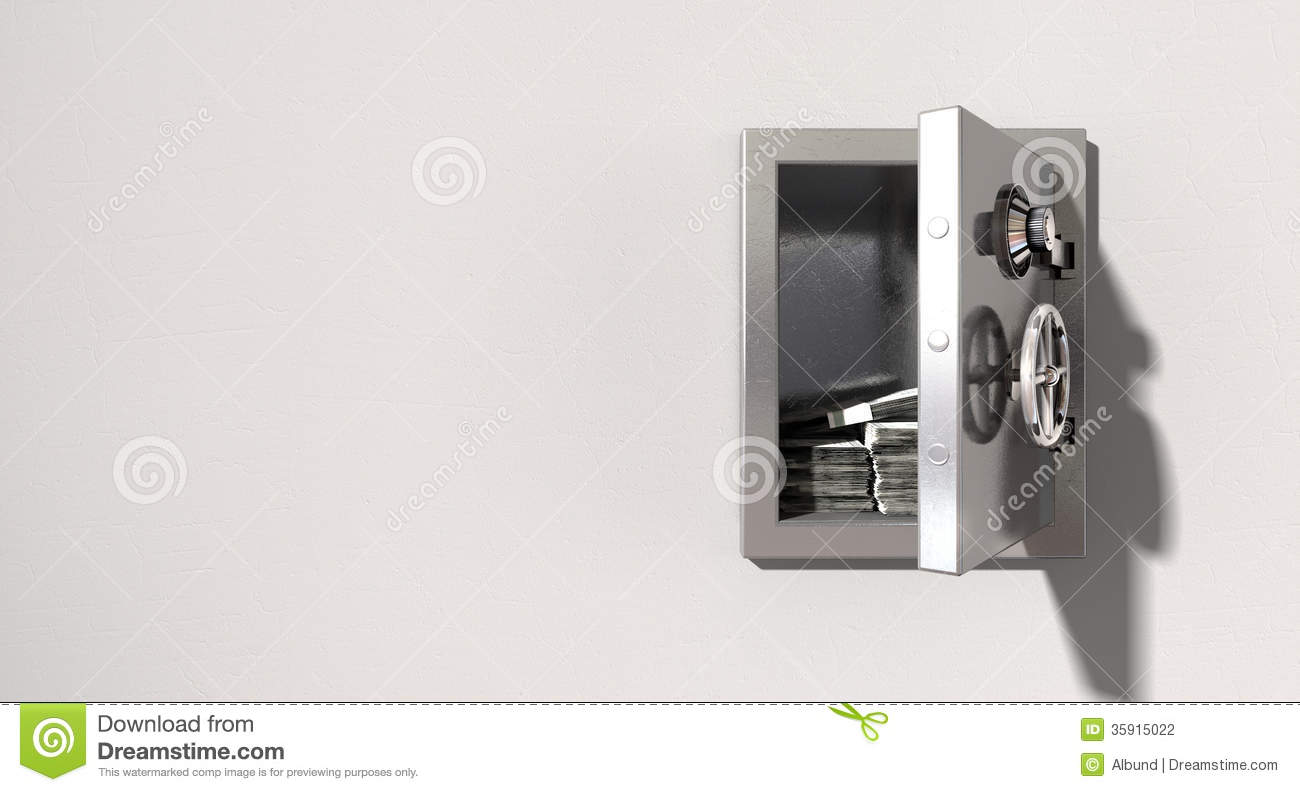 Open Safe On Wall With US Dollars Stock Photography - Image: 35915022