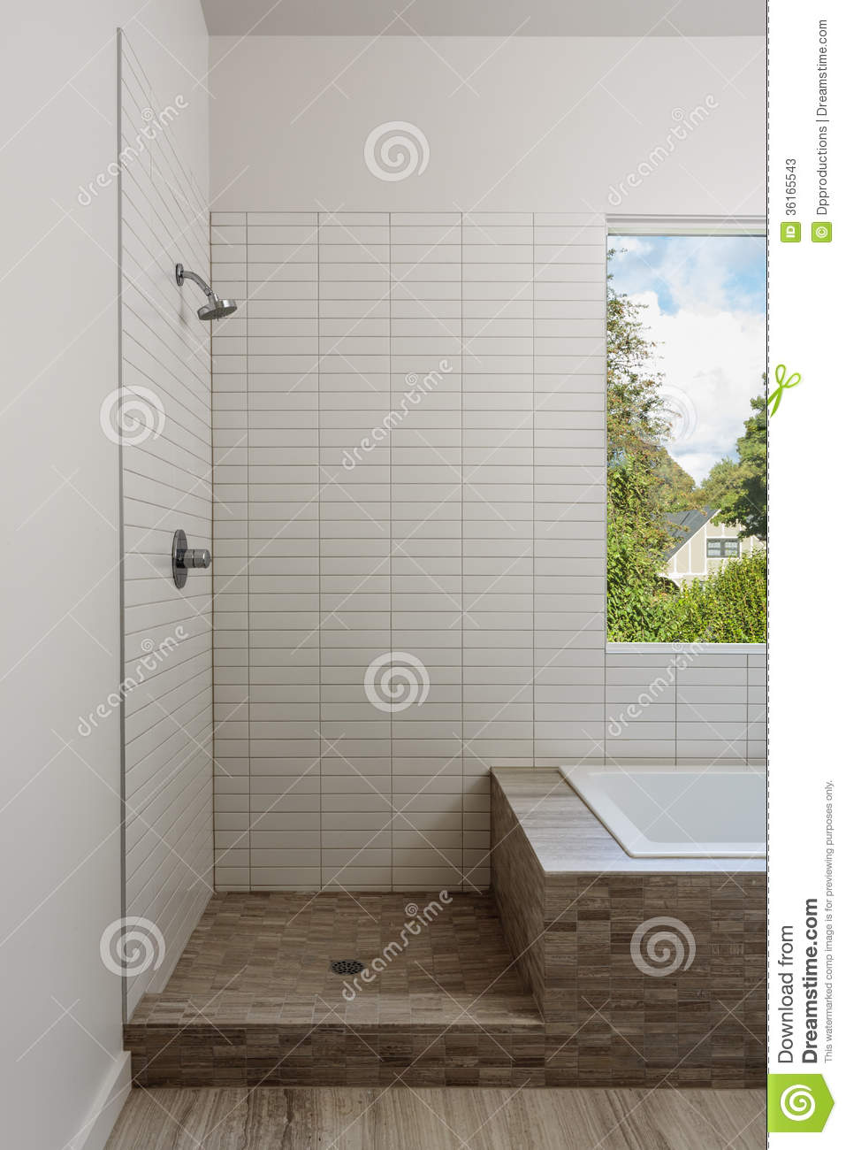 Open shower and bathtub in a modern home stock image for Open shower bathroom