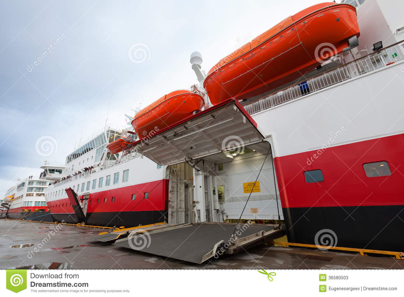 Open Side Ramp Gate On Big Ferry In Port Stock Image