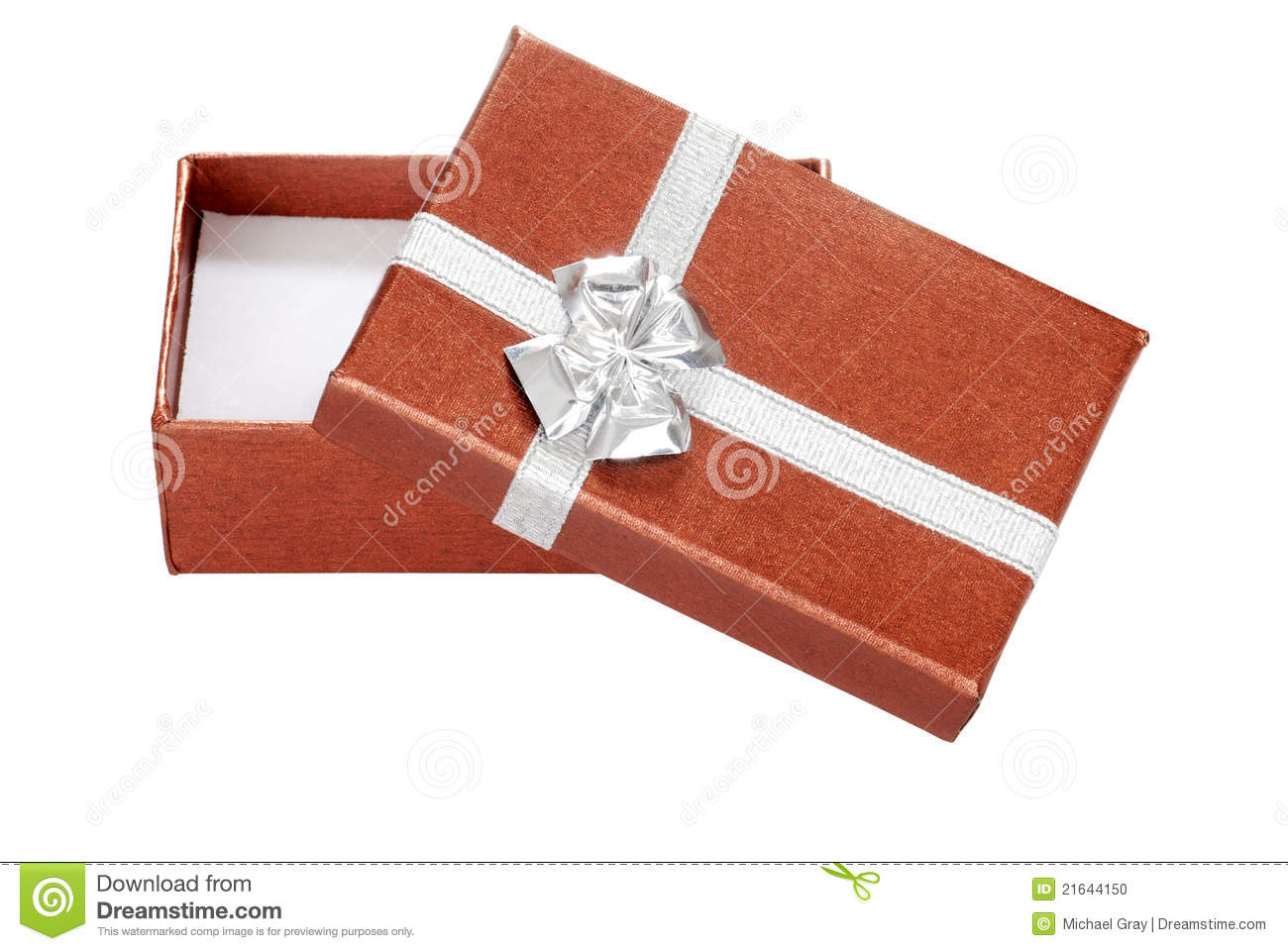 Open silver copper christmas gift stock photo image