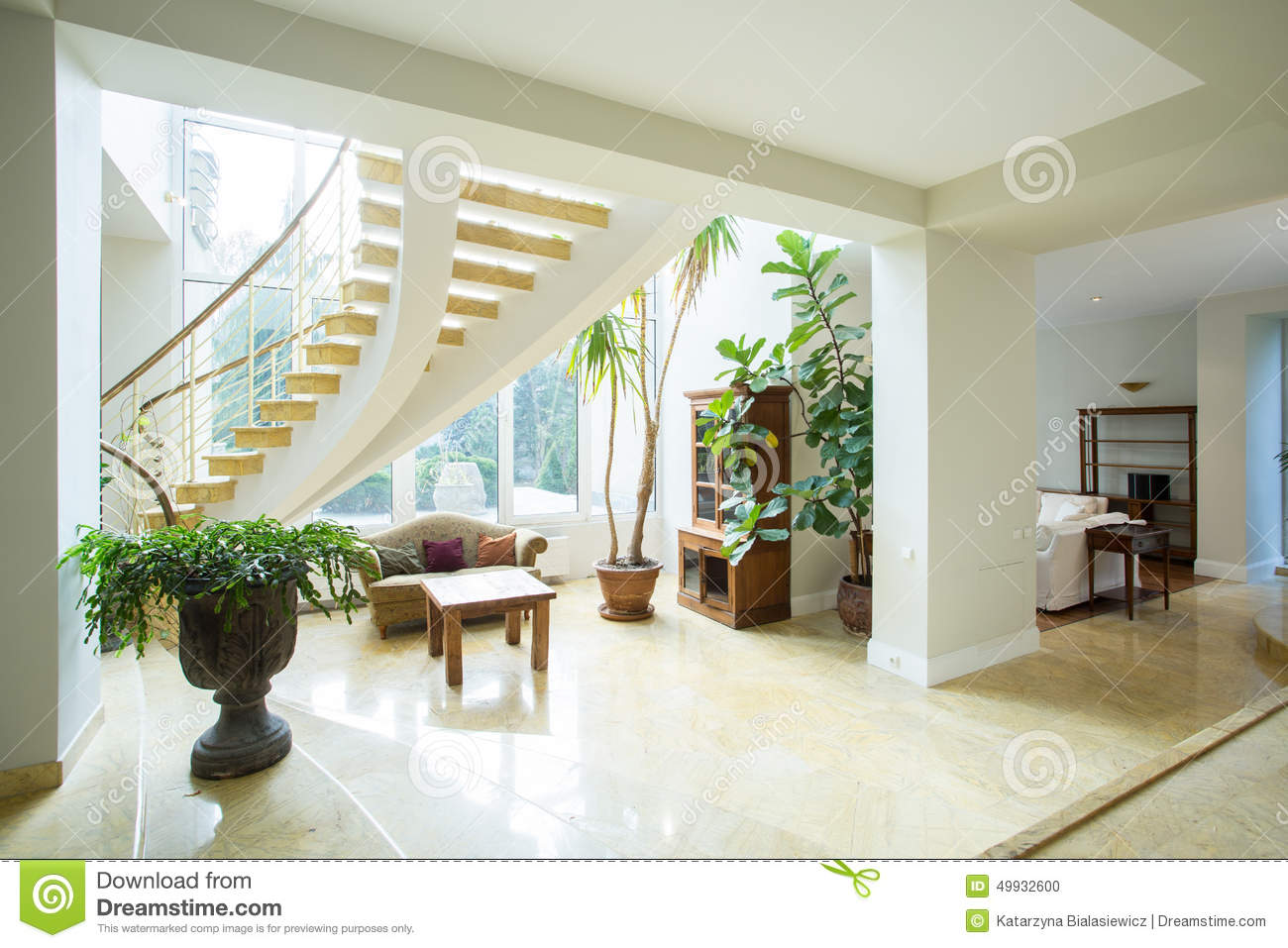Greek Style House open space inside greek style house stock photo - image: 49932600