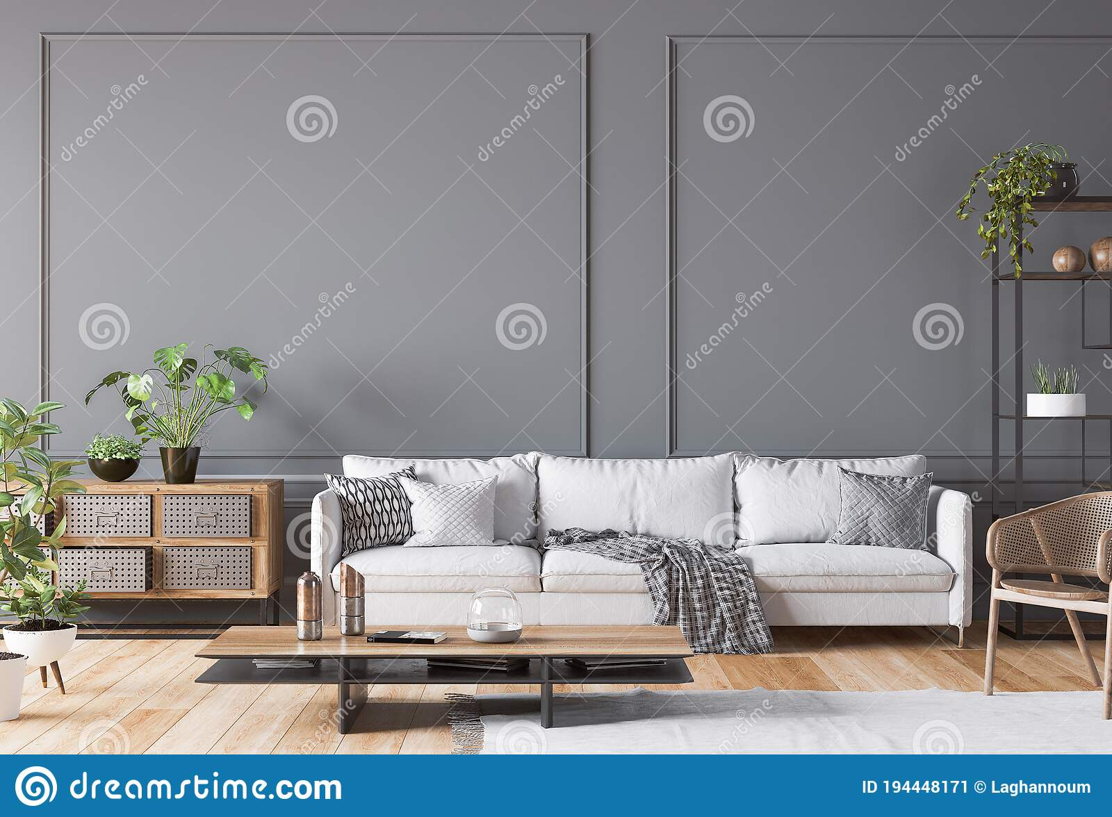 Open Space Living Room Interior Mockup White Sofa Rattan Chair Lots Of Fresh Plants And Wooden Coffee On Empty Gray Wall Stock Illustration Illustration Of Couch Cabinet 194448171