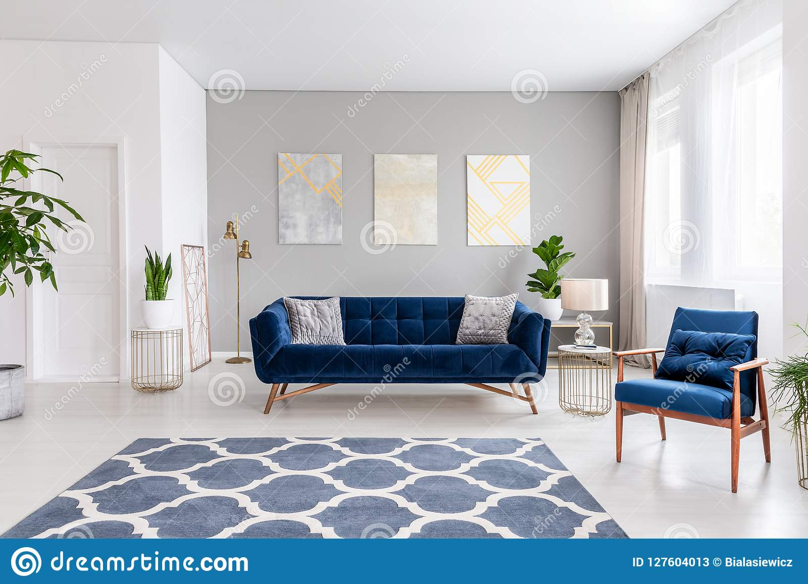 Open Space Living Room Interior With A Navy Blue Sofa And An Armchair Rug On The Floor And Graphic Decorations On The Wall Real Stock Image Image Of Living Inside 127604013