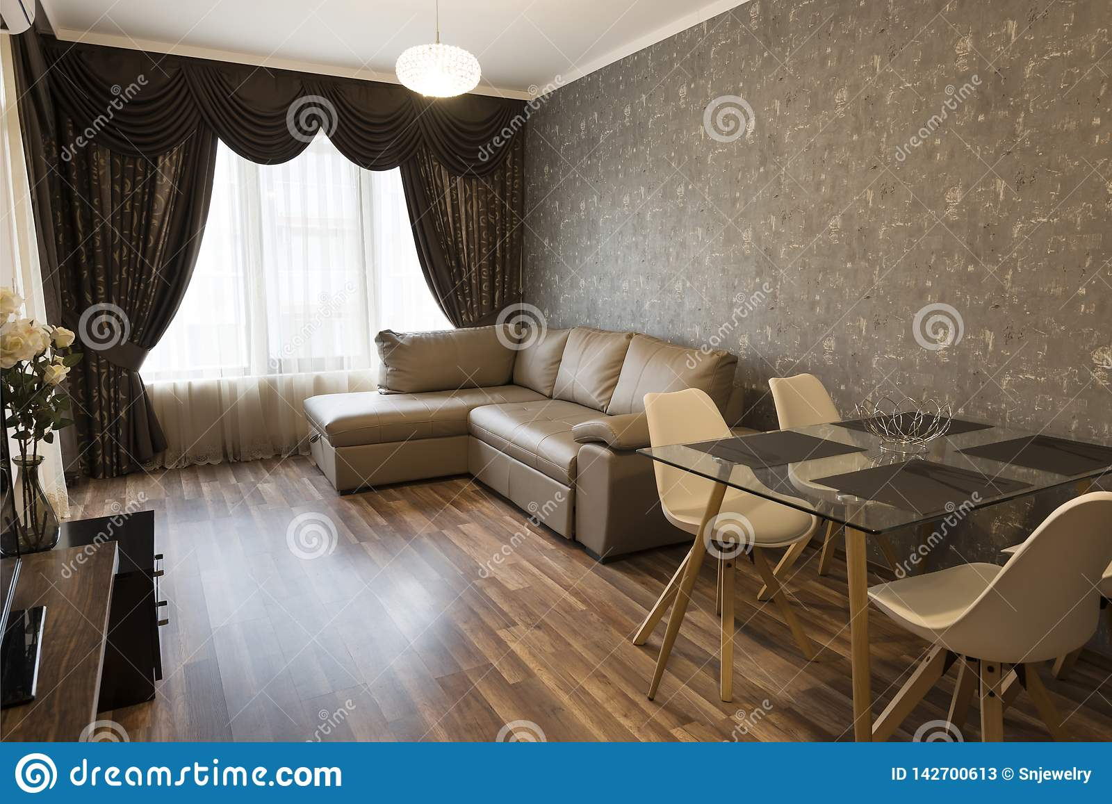 Open Space Living Room New Home Room With Brown Color Tone Furniture Windows With Long Curtains Drapery And Sheers Interior Stock Image Image Of Designer Furniture 142700613