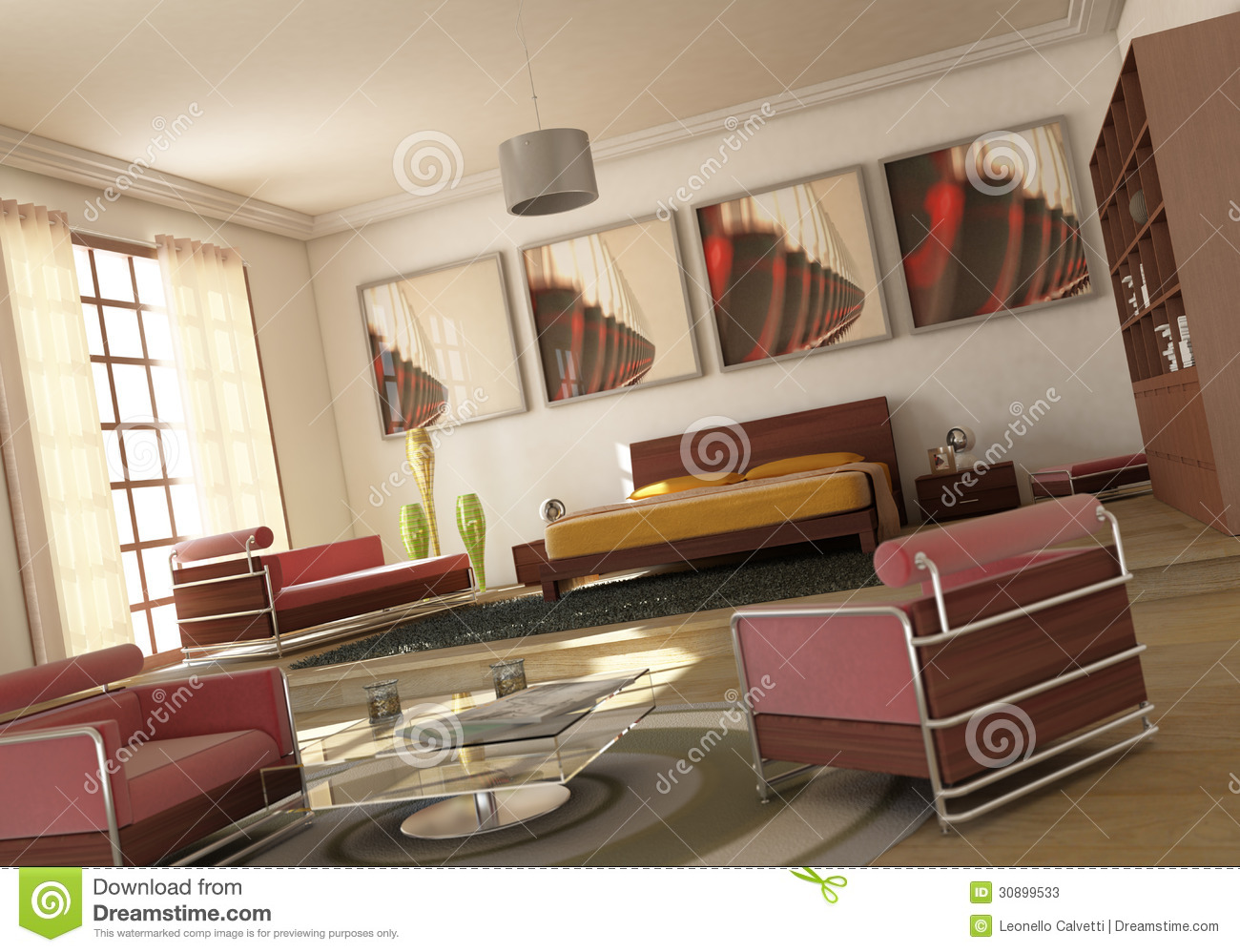 Open Space Modern Bedroom Living Room Stock Photos Image 30899533