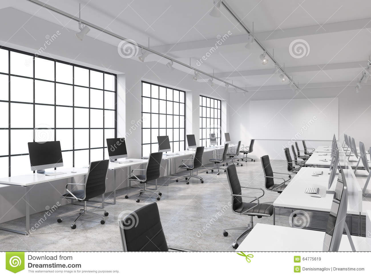 Open space office with computers stock illustration for Bureau open space dimension