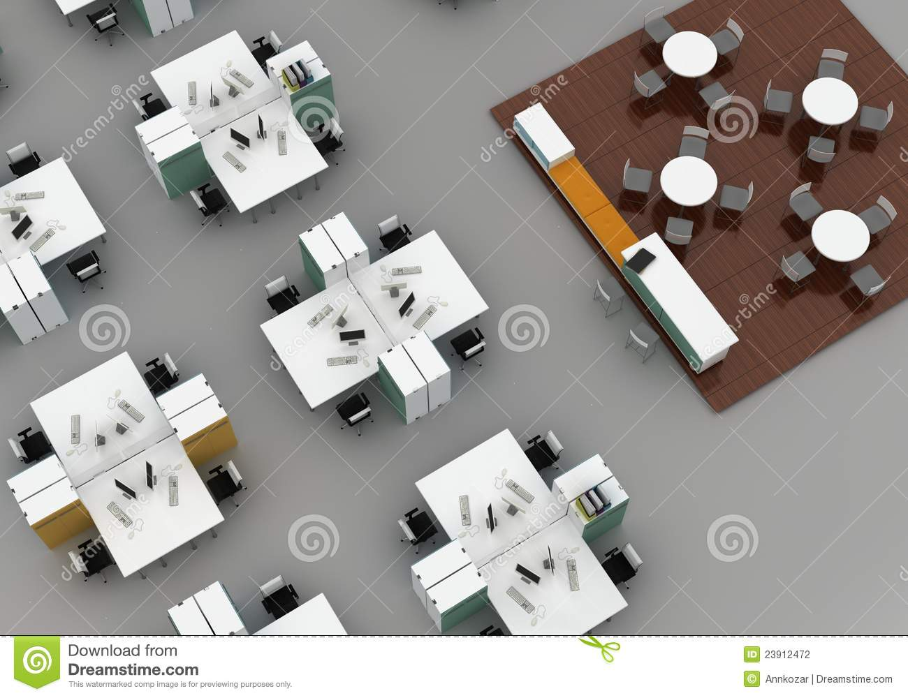Open Space Office On Gray Background Stock Illustration