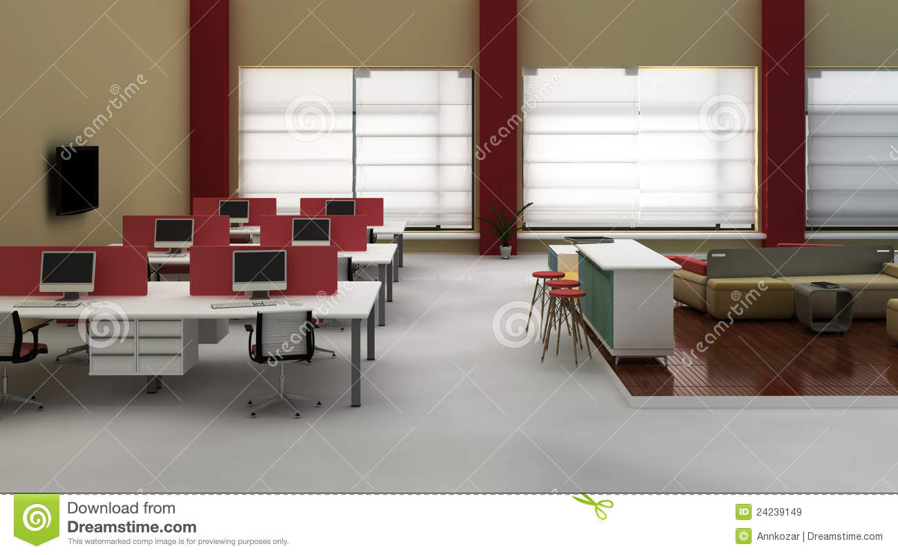 Open Space Office Interior Royalty Free Stock Images