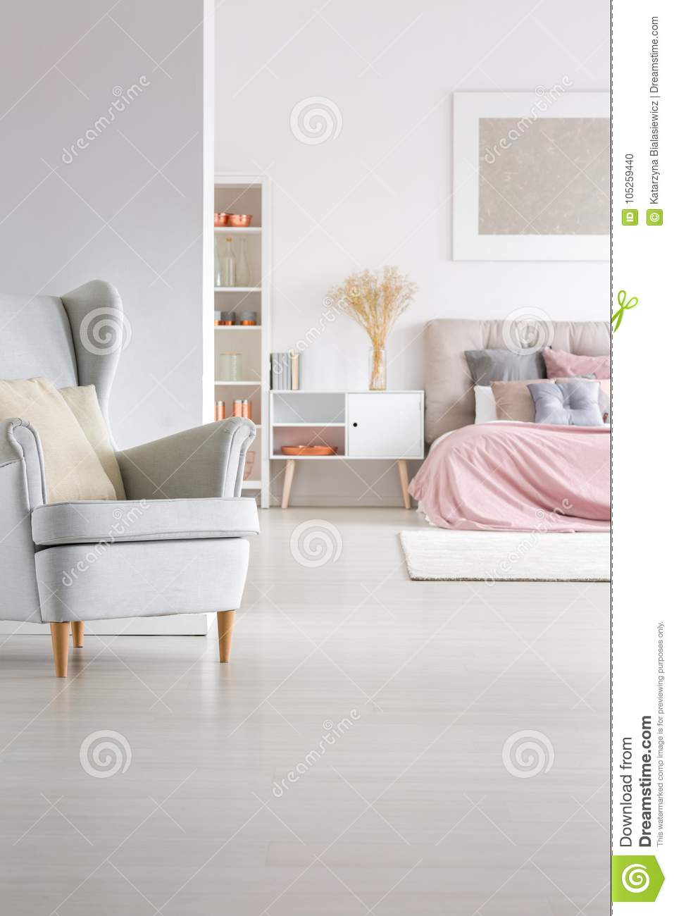 Phenomenal Open Space Pastel Master Bedroom Stock Photo Image Of Flat Pabps2019 Chair Design Images Pabps2019Com