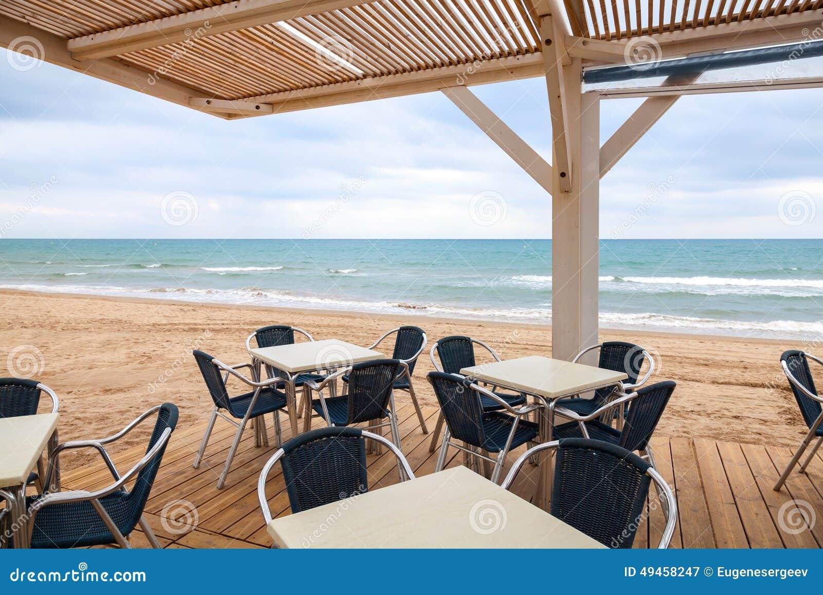 Open Space Seaside Bar Interior With Wooden Floor Stock