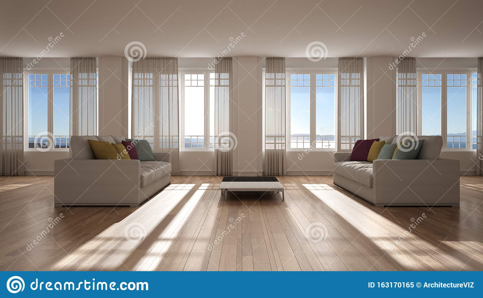 Open Space With Sofa Interior Design Modern Living Room Lounge With Big Panoramic Windows With Curtains And Sea View Parquet Stock Illustration Illustration Of Domestic Light 163170165
