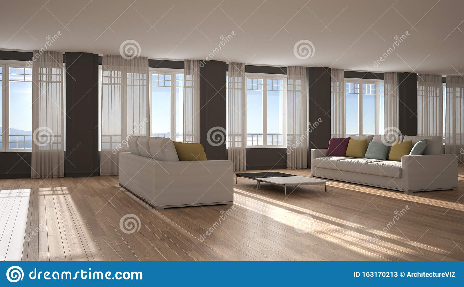 Open Space With Sofa Interior Design Modern Living Room Lounge With Big Panoramic Windows With Curtains And Sea View Parquet Stock Illustration Illustration Of Design Lounge 163170213
