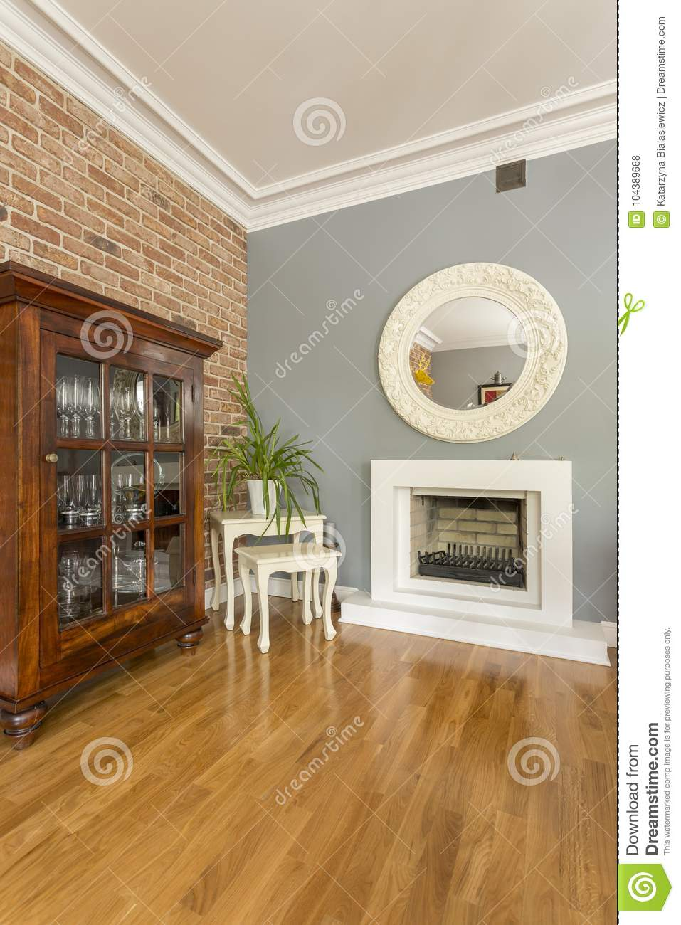 Decorative Mirrors For Above Fireplace.Open Space With Wooden Cabinet Stock Photo Image Of Floor