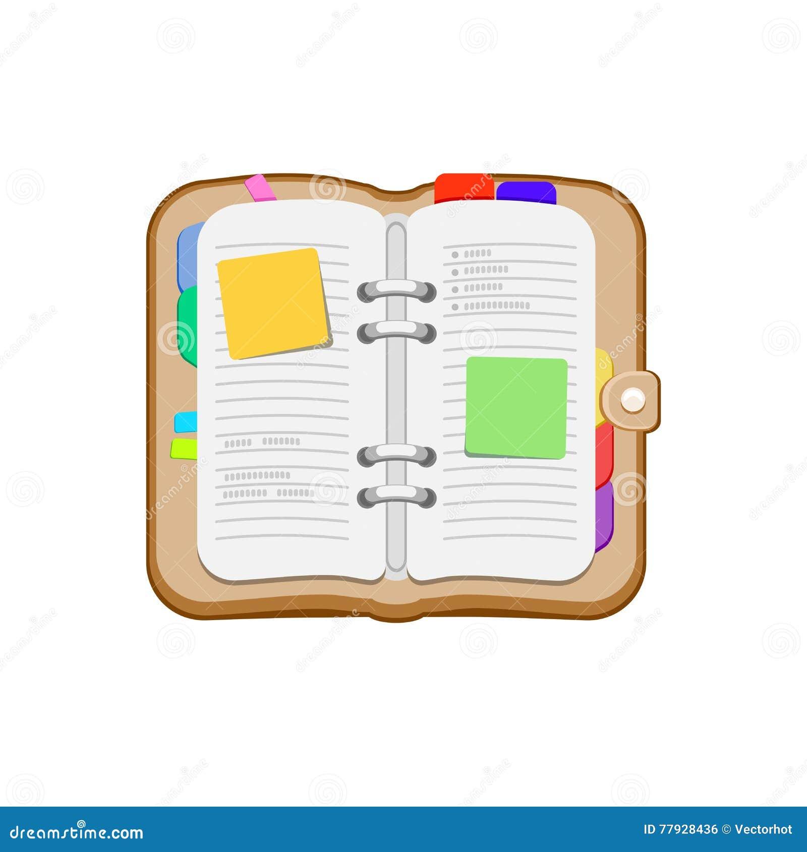 Open spiraalvormige agenda, notitieboekje of persoonlijke organisator Blocnote met stickers, referentie