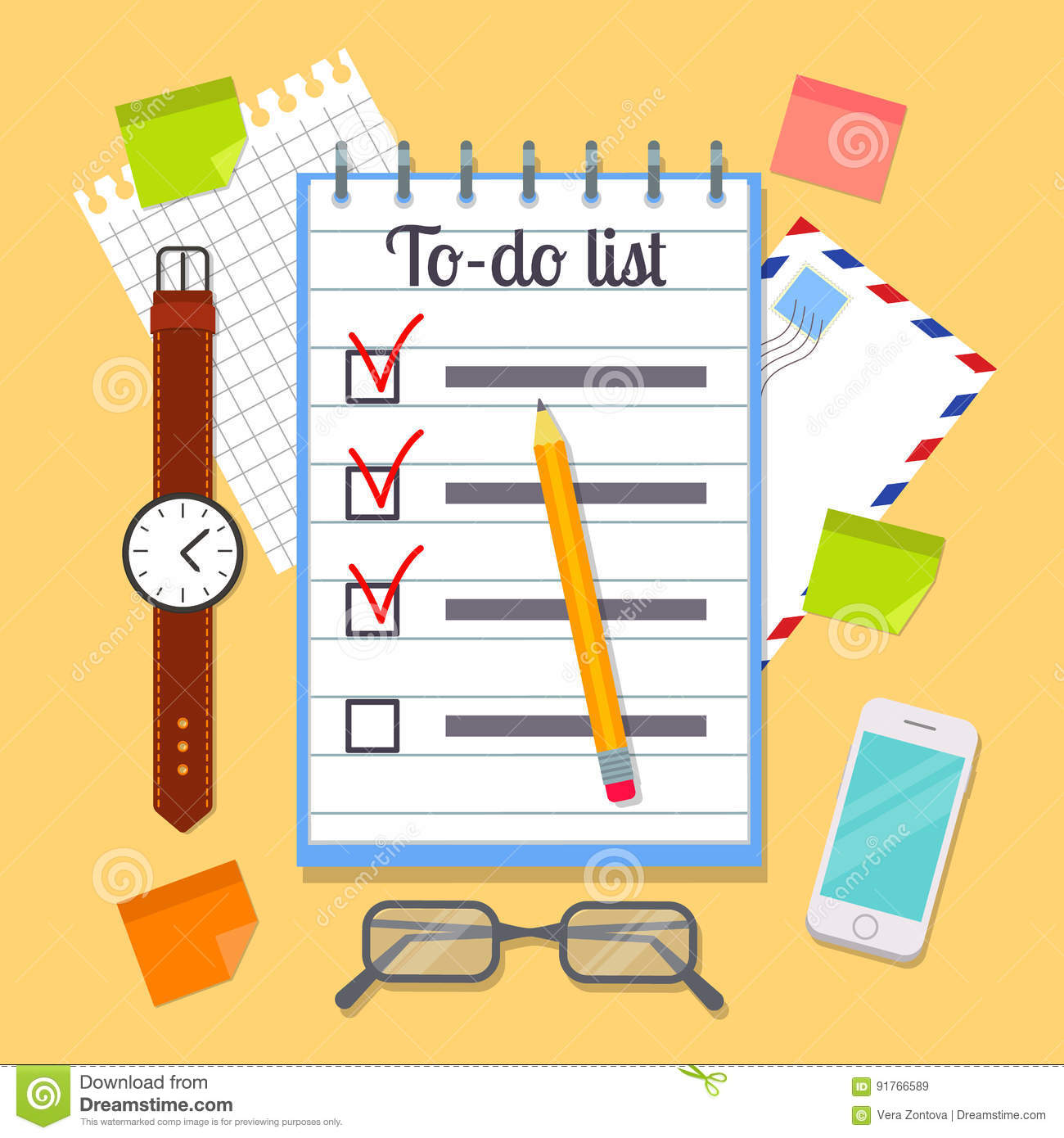 Watch Post It Notes Open Spiral Notebook With To Do List Stock Vector Image 91766589